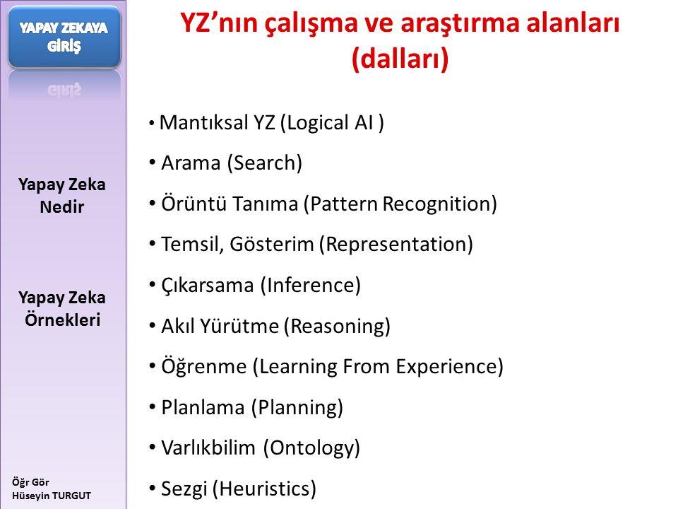 YZ'nın çalışma ve araştırma alanları (dalları)