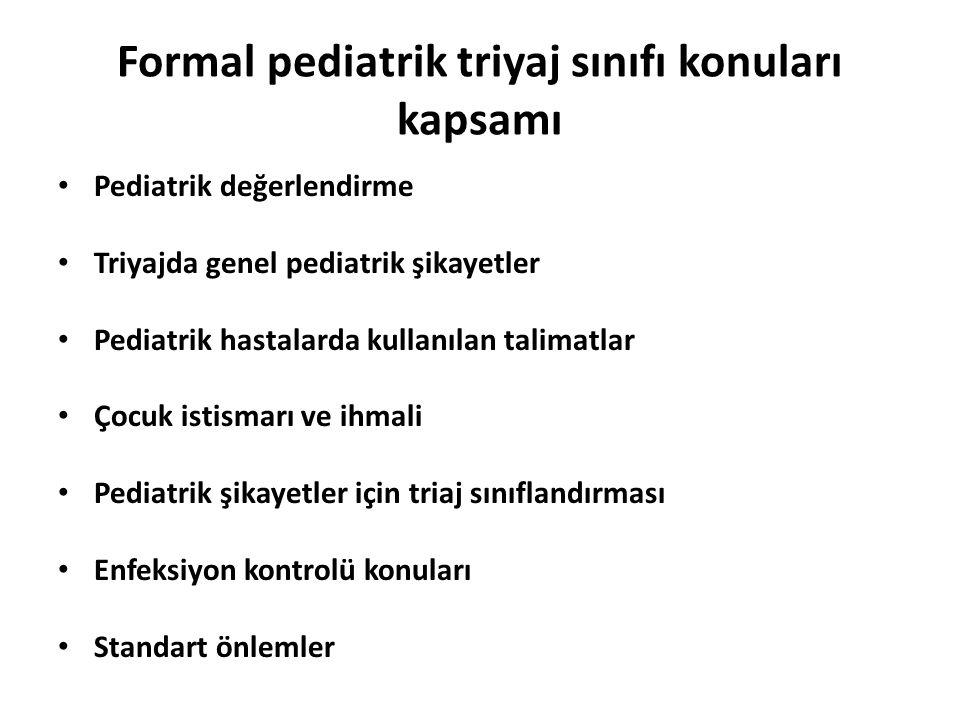 Formal pediatrik triyaj sınıfı konuları kapsamı