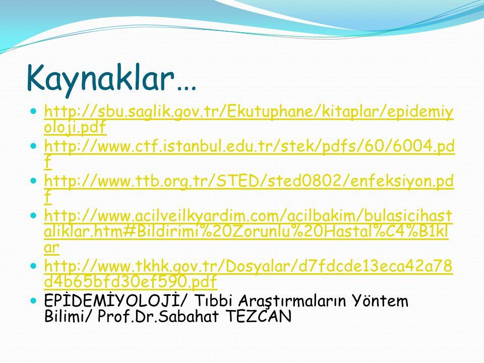 Kaynaklar… http://sbu.saglik.gov.tr/Ekutuphane/kitaplar/epidemiyoloji.pdf. http://www.ctf.istanbul.edu.tr/stek/pdfs/60/6004.pdf.