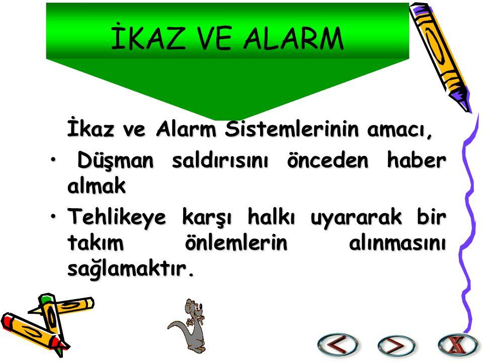 İKAZ VE ALARM İkaz ve Alarm Sistemlerinin amacı,