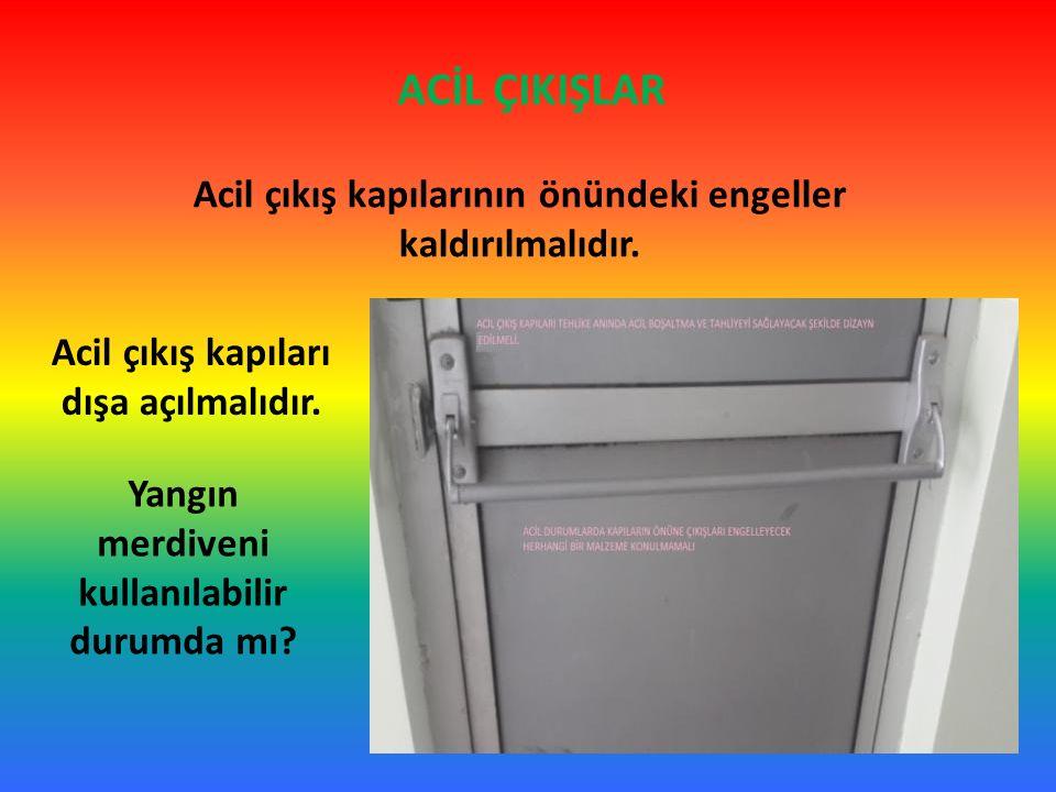 ACİL ÇIKIŞLAR Acil çıkış kapılarının önündeki engeller kaldırılmalıdır. Acil çıkış kapıları dışa açılmalıdır.