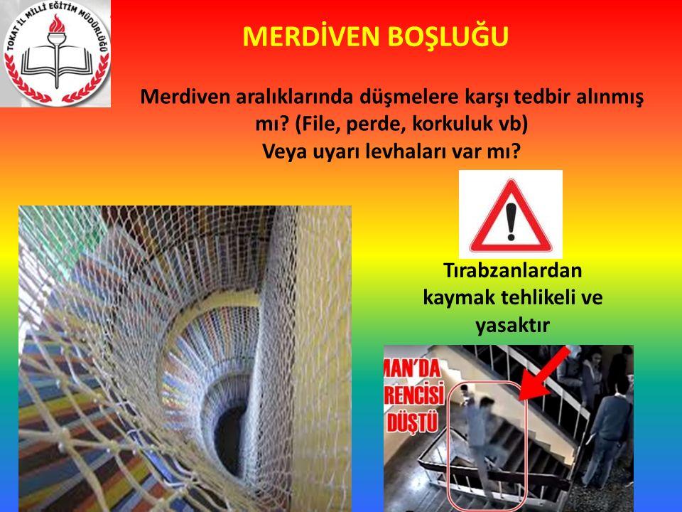 MERDİVEN BOŞLUĞU Merdiven aralıklarında düşmelere karşı tedbir alınmış mı (File, perde, korkuluk vb)