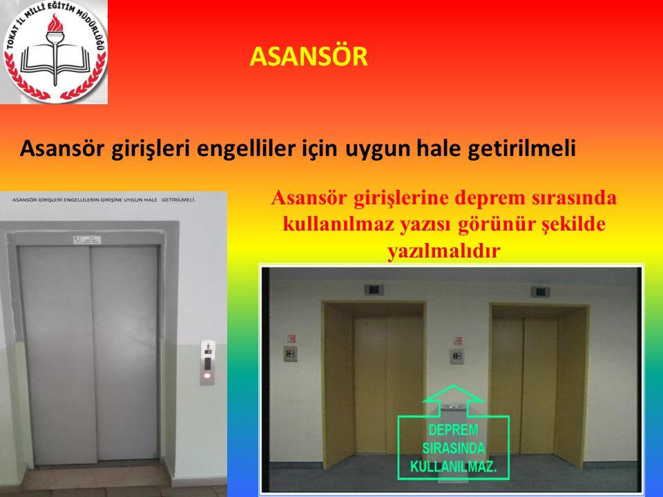 ASANSÖR Asansör girişleri engelliler için uygun hale getirilmeli