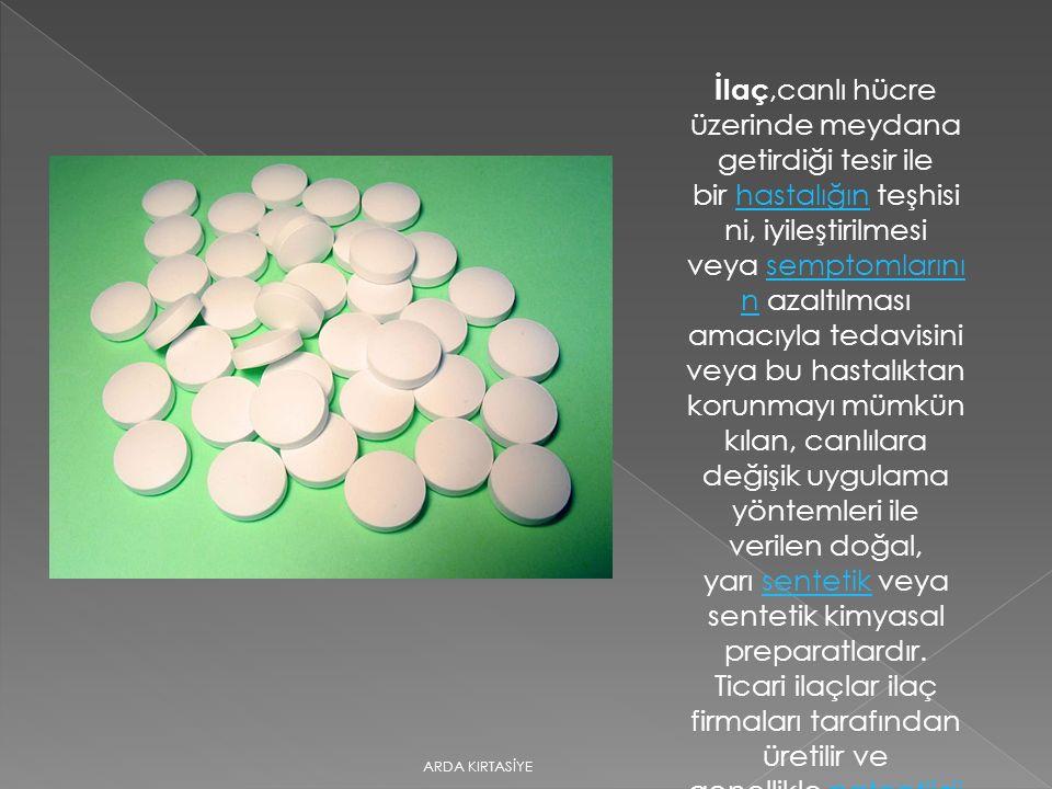 İlaç,canlı hücre üzerinde meydana getirdiği tesir ile bir hastalığın teşhisini, iyileştirilmesi veya semptomlarının azaltılması amacıyla tedavisini veya bu hastalıktan korunmayı mümkün kılan, canlılara değişik uygulama yöntemleri ile verilen doğal, yarı sentetik veya sentetik kimyasal preparatlardır. Ticari ilaçlar ilaç firmaları tarafından üretilir ve genellikle patentlidir.