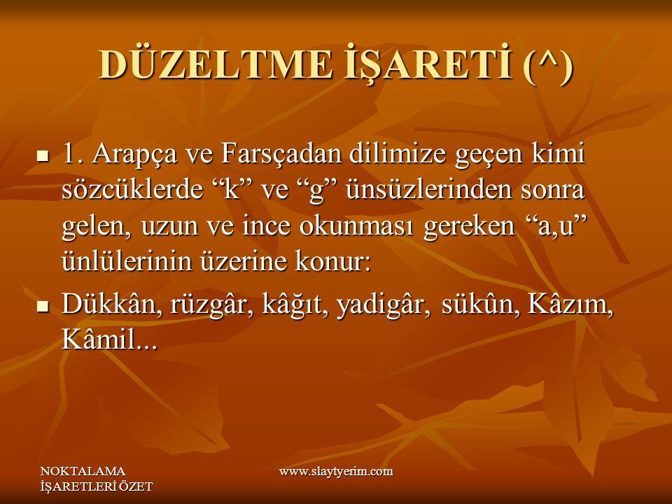DÜZELTME İŞARETİ (^)