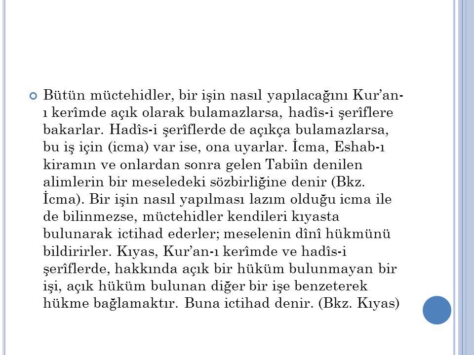Bütün müctehidler, bir işin nasıl yapılacağını Kur'an- ı kerîmde açık olarak bulamazlarsa, hadîs-i şerîflere bakarlar.