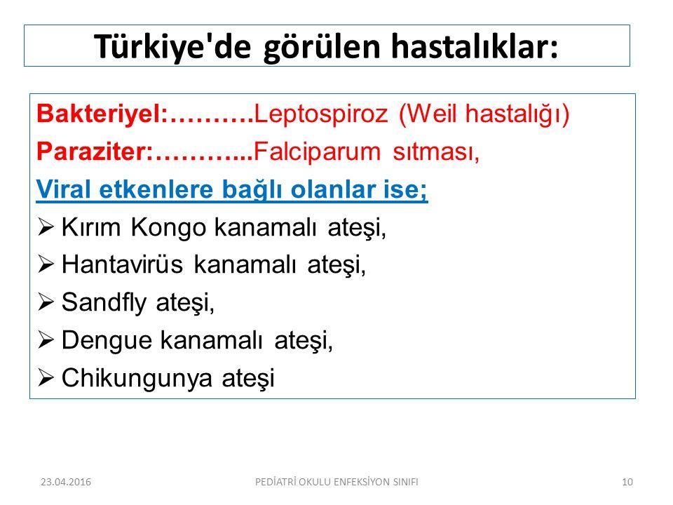 Türkiye de görülen hastalıklar: