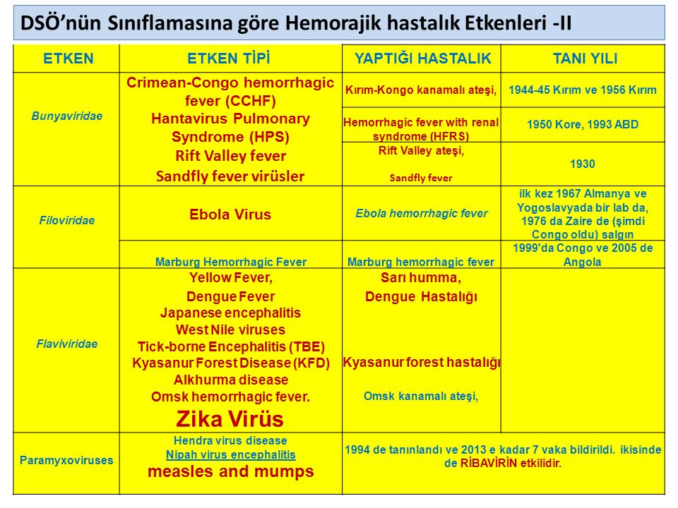 DSÖ'nün Sınıflamasına göre Hemorajik hastalık Etkenleri -II