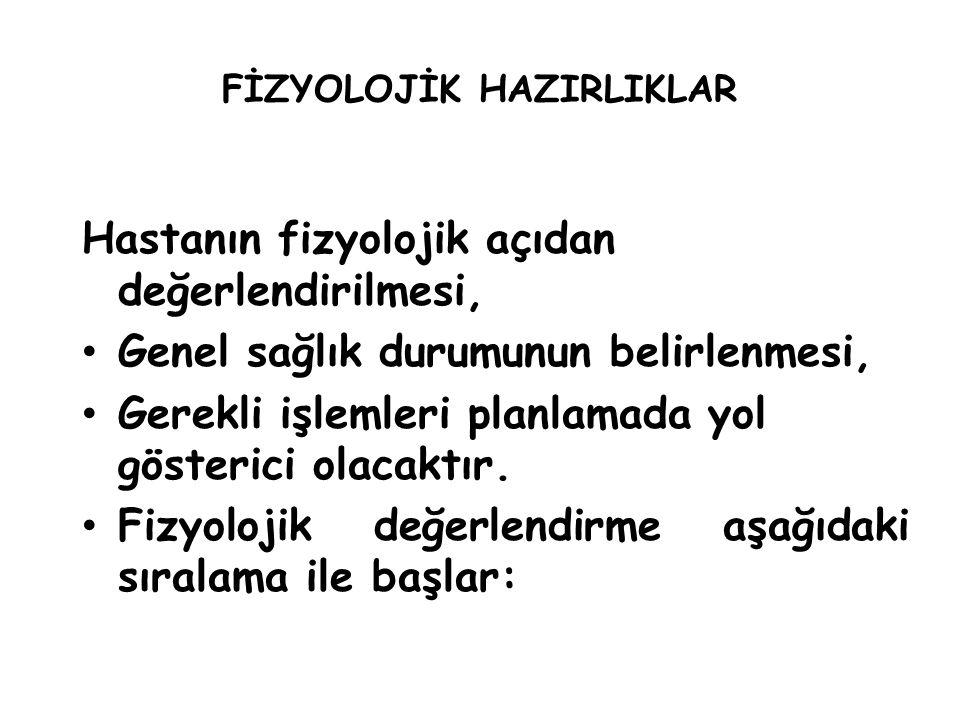 FİZYOLOJİK HAZIRLIKLAR