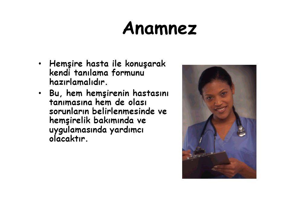 Anamnez Hemşire hasta ile konuşarak kendi tanılama formunu hazırlamalıdır.