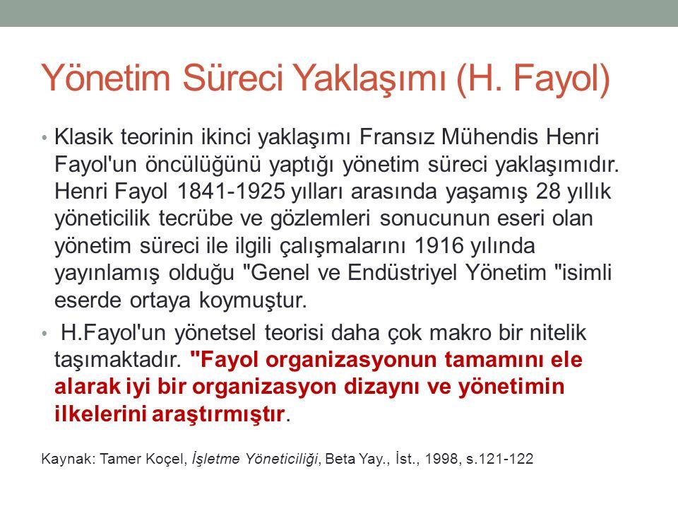Yönetim Süreci Yaklaşımı (H. Fayol)