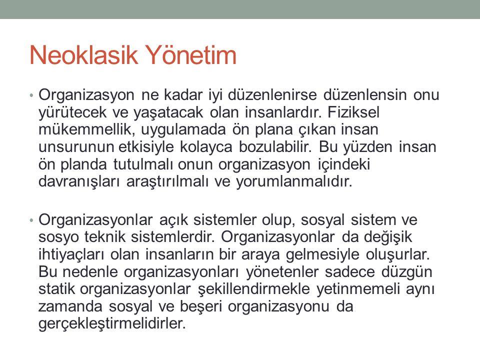 Neoklasik Yönetim
