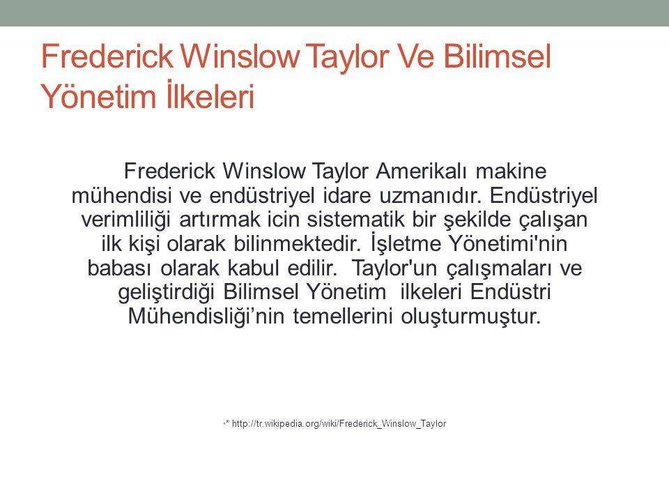Frederick Winslow Taylor Ve Bilimsel Yönetim İlkeleri