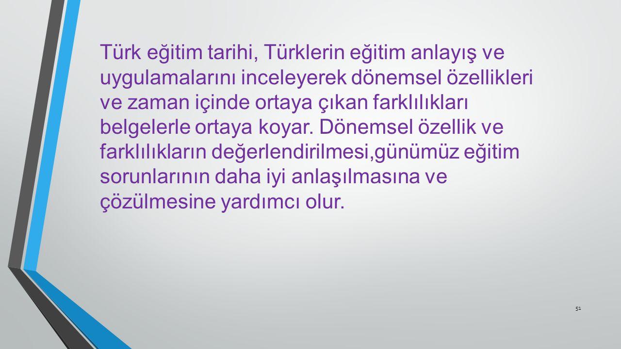 Türk eğitim tarihi, Türklerin eğitim anlayış ve uygulamalarını inceleyerek dönemsel özellikleri ve zaman içinde ortaya çıkan farklılıkları belgelerle ortaya koyar.