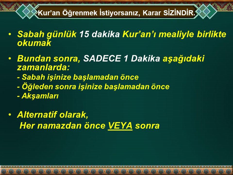 Kur'an Öğrenmek İstiyorsanız, Karar SİZİNDİR.