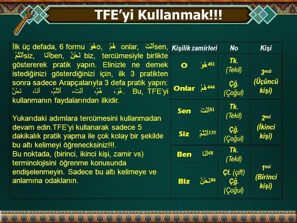 TFE'yi Kullanmak!!!