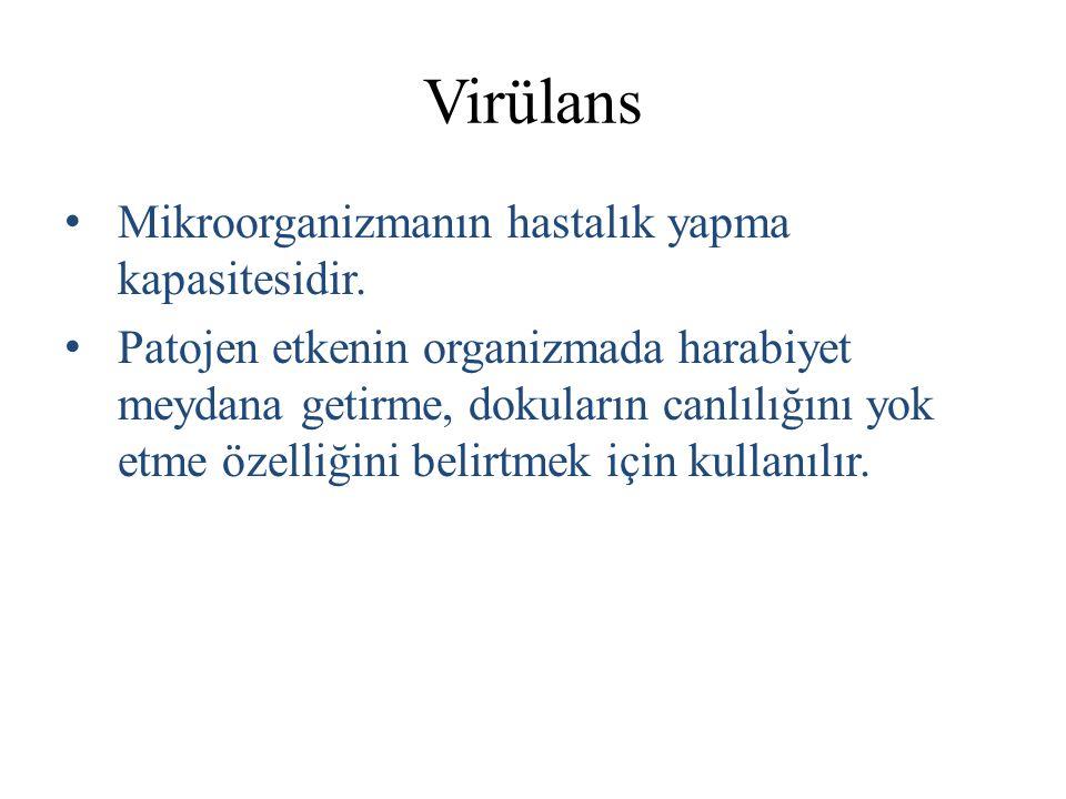 Virülans Mikroorganizmanın hastalık yapma kapasitesidir.
