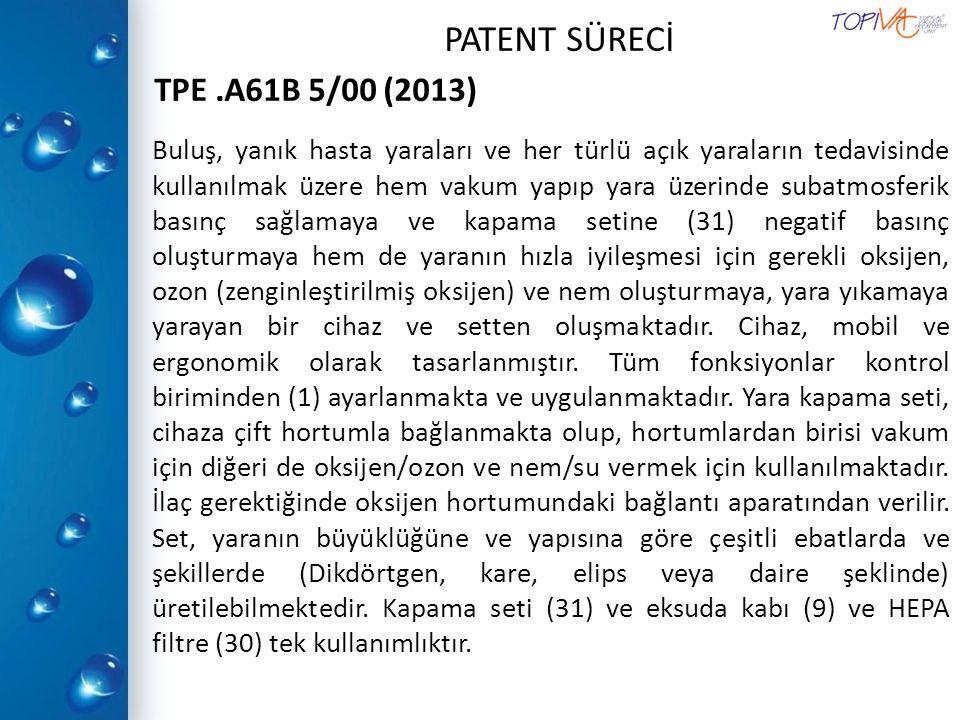 TPE .A61B 5/00 (2013) PATENT SÜRECİ