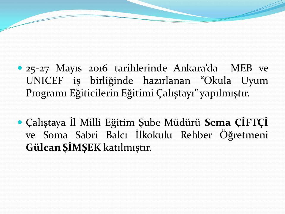 25-27 Mayıs 2016 tarihlerinde Ankara'da MEB ve UNICEF iş birliğinde hazırlanan Okula Uyum Programı Eğiticilerin Eğitimi Çalıştayı yapılmıştır.