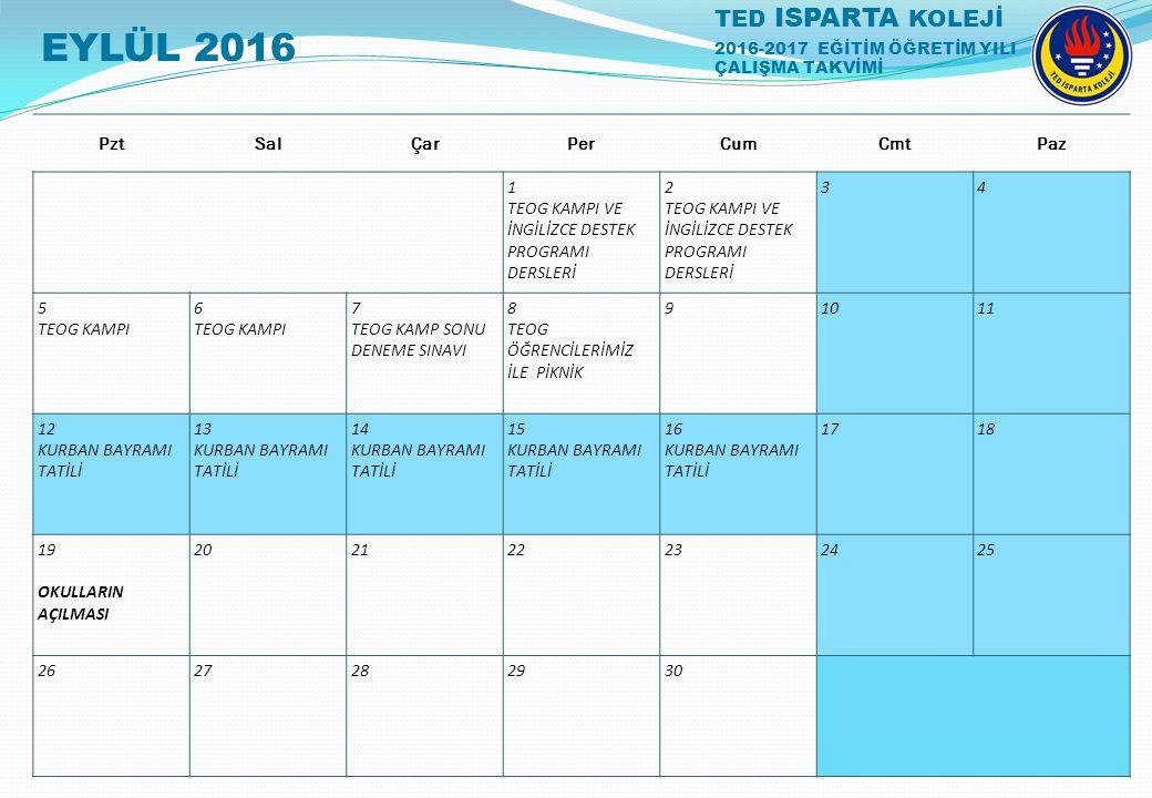 EYLÜL 2016 1 TEOG KAMPI VE İNGİLİZCE DESTEK PROGRAMI DERSLERİ 2 3 4 5