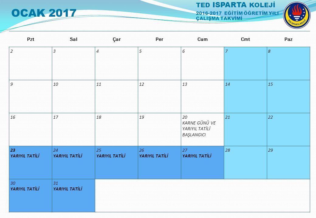 OCAK 2017 Pzt. Sal. Çar. Per. Cum. Cmt. Paz. 2. 3. 4. 5. 6. 7. 8. 9. 10. 11. 12. 13.