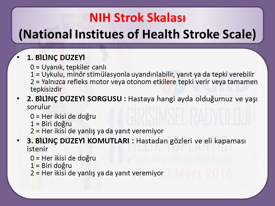 NIH Strok Skalası (National Institues of Health Stroke Scale)