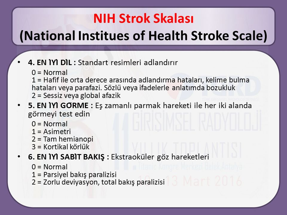 NIH Strok Skalası (National Institues of Health Stroke Scale)