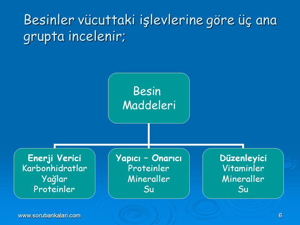Besinler vücuttaki işlevlerine göre üç ana grupta incelenir;