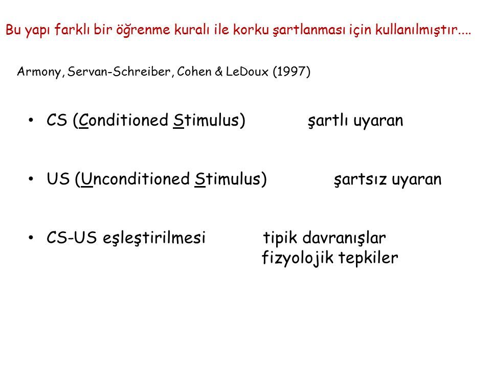 CS (Conditioned Stimulus) şartlı uyaran