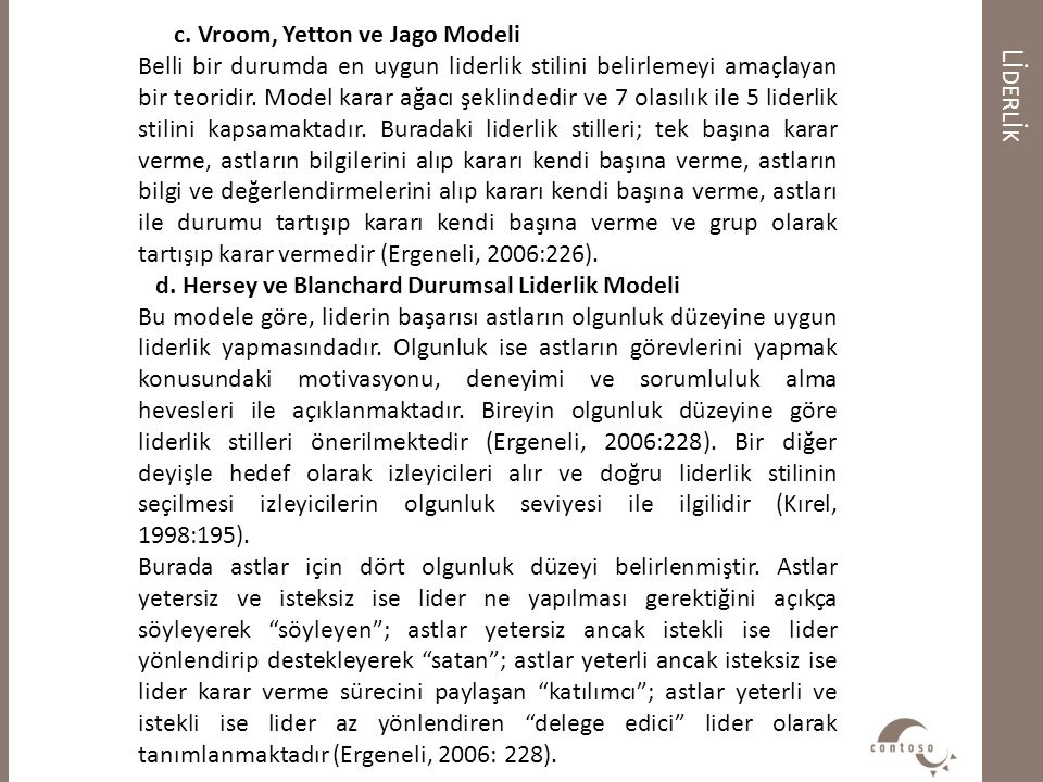 Lİderlİk c. Vroom, Yetton ve Jago Modeli