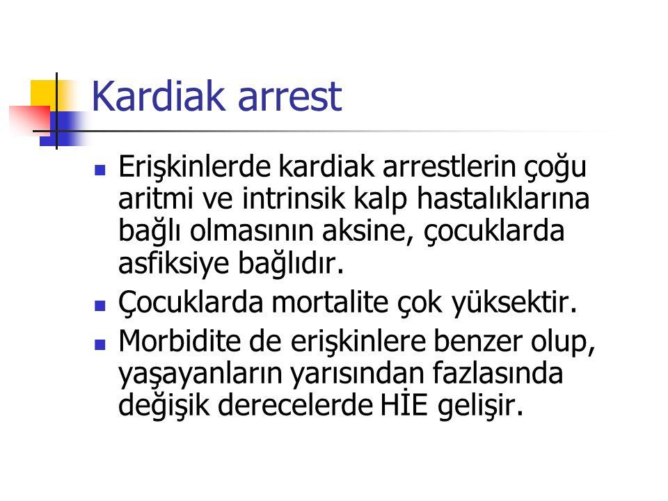 Kardiak arrest Erişkinlerde kardiak arrestlerin çoğu aritmi ve intrinsik kalp hastalıklarına bağlı olmasının aksine, çocuklarda asfiksiye bağlıdır.
