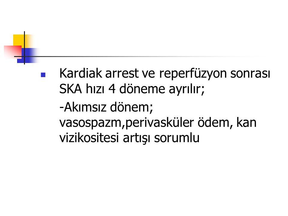 Kardiak arrest ve reperfüzyon sonrası SKA hızı 4 döneme ayrılır;