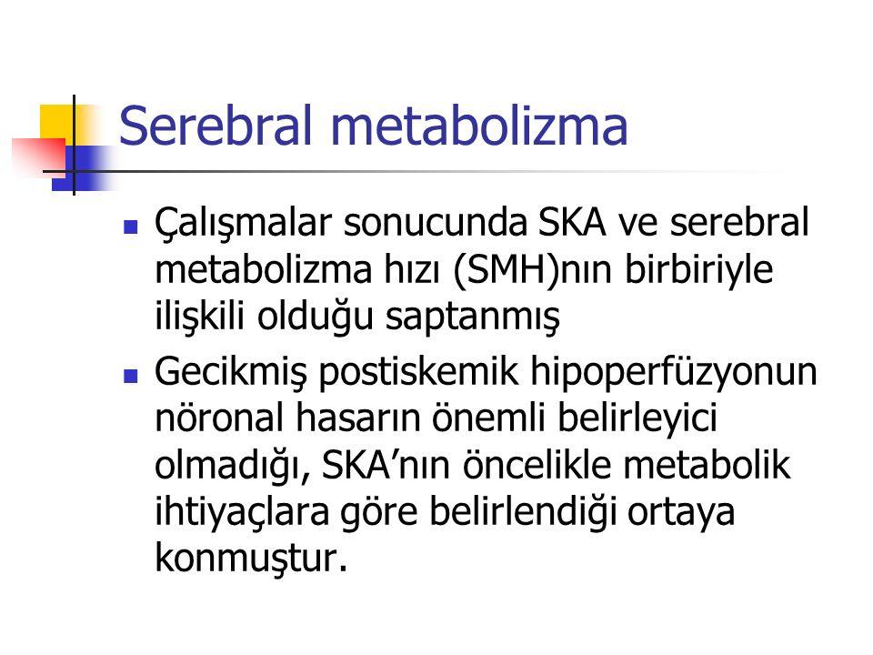Serebral metabolizma Çalışmalar sonucunda SKA ve serebral metabolizma hızı (SMH)nın birbiriyle ilişkili olduğu saptanmış.