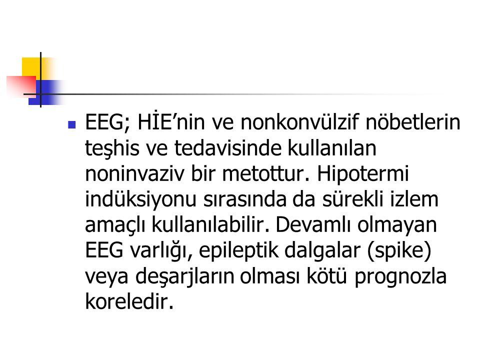 EEG; HİE'nin ve nonkonvülzif nöbetlerin teşhis ve tedavisinde kullanılan noninvaziv bir metottur.