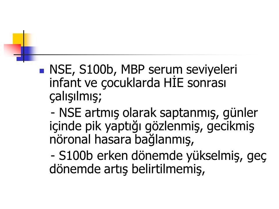NSE, S100b, MBP serum seviyeleri infant ve çocuklarda HİE sonrası çalışılmış;