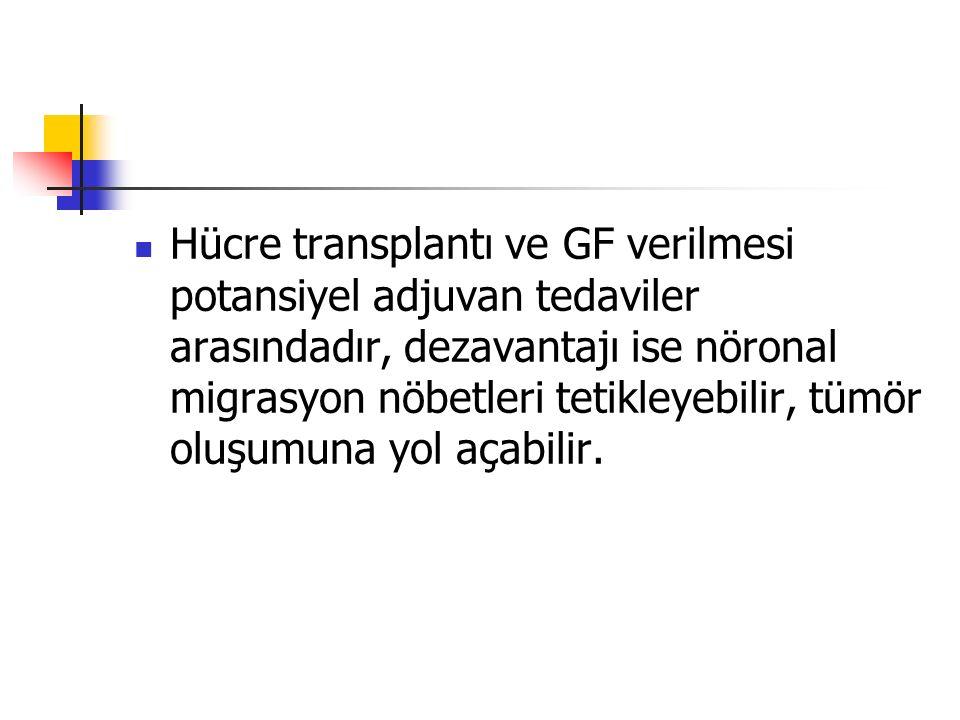 Hücre transplantı ve GF verilmesi potansiyel adjuvan tedaviler arasındadır, dezavantajı ise nöronal migrasyon nöbetleri tetikleyebilir, tümör oluşumuna yol açabilir.
