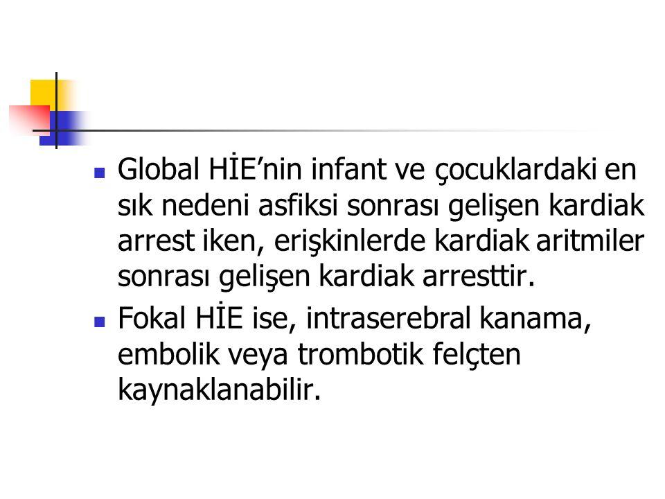 Global HİE'nin infant ve çocuklardaki en sık nedeni asfiksi sonrası gelişen kardiak arrest iken, erişkinlerde kardiak aritmiler sonrası gelişen kardiak arresttir.