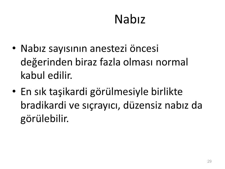 Nabız Nabız sayısının anestezi öncesi değerinden biraz fazla olması normal kabul edilir.