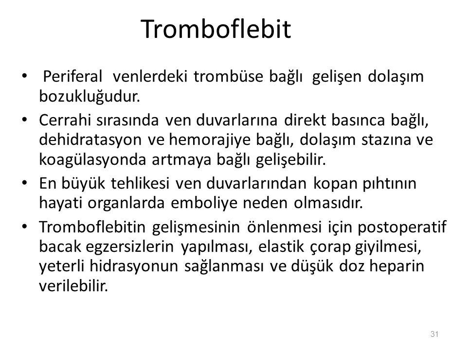 Tromboflebit Periferal venlerdeki trombüse bağlı gelişen dolaşım bozukluğudur.