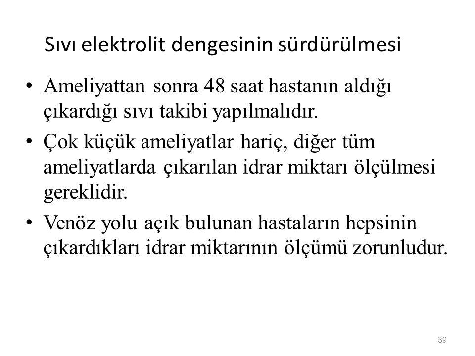 Sıvı elektrolit dengesinin sürdürülmesi