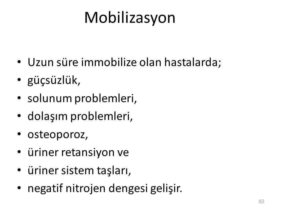 Mobilizasyon Uzun süre immobilize olan hastalarda; güçsüzlük,
