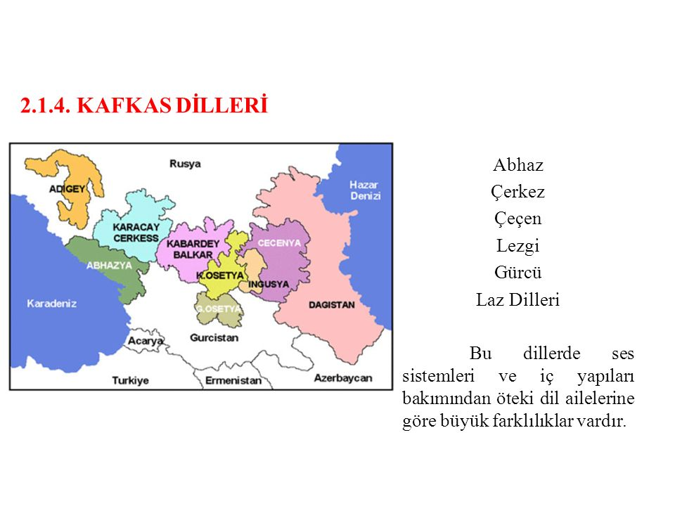 2.1.4. KAFKAS DİLLERİ Abhaz Çerkez Çeçen Lezgi Gürcü Laz Dilleri