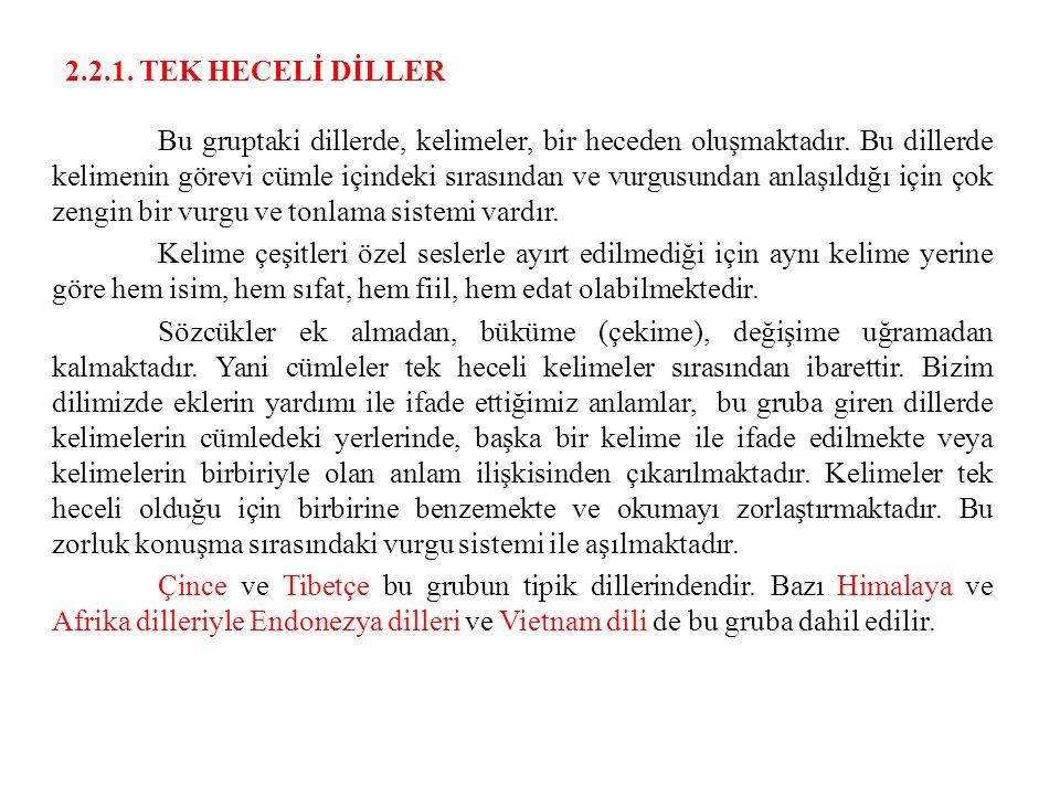 2.2.1. TEK HECELİ DİLLER