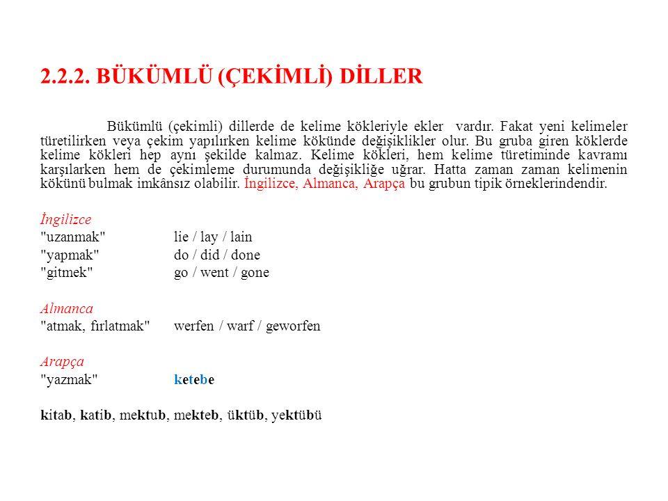 2.2.2. BÜKÜMLÜ (ÇEKİMLİ) DİLLER