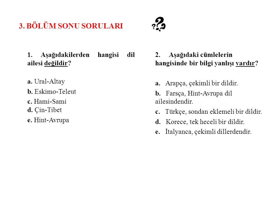 3. BÖLÜM SONU SORULARI 1. Aşağıdakilerden hangisi dil ailesi değildir
