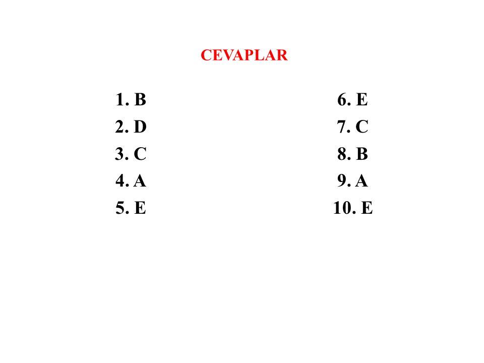 CEVAPLAR 1. B 2. D 3. C 4. A 5. E 6. E 7. C 8. B 9. A 10. E