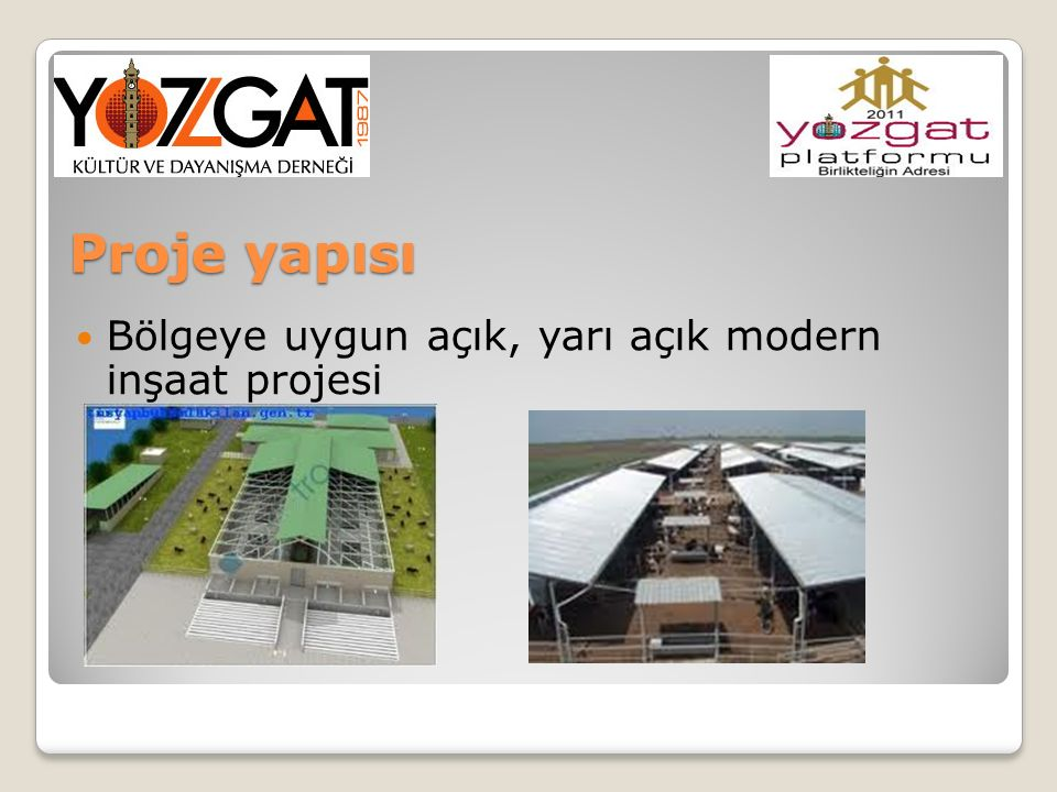 Proje yapısı Bölgeye uygun açık, yarı açık modern inşaat projesi