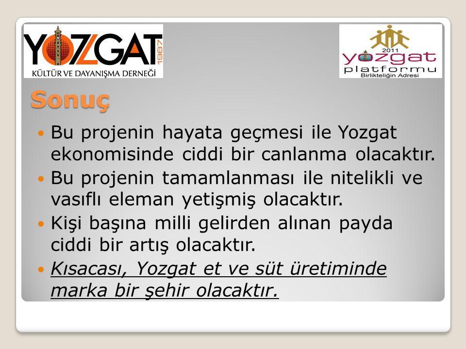 Sonuç Bu projenin hayata geçmesi ile Yozgat ekonomisinde ciddi bir canlanma olacaktır.
