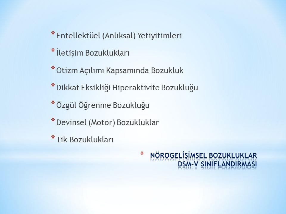 NÖROGELİŞİMSEL BOZUKLUKLAR DSM-V SINIFLANDIRMASI