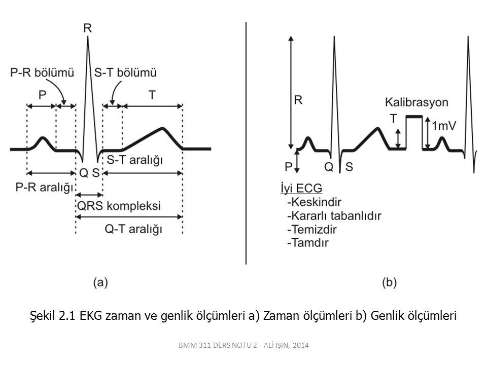 Şekil 2.1 EKG zaman ve genlik ölçümleri a) Zaman ölçümleri b) Genlik ölçümleri